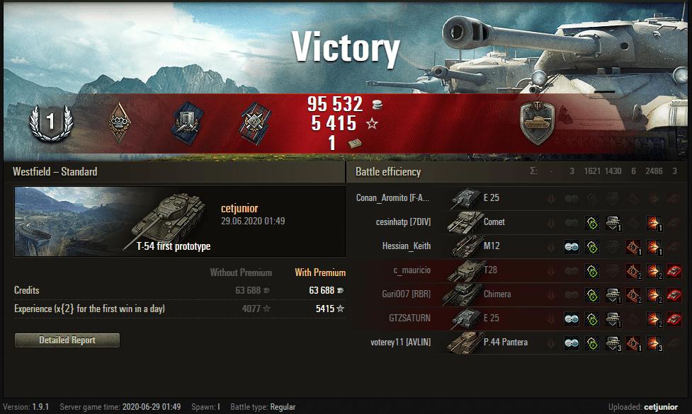 Replay – T-54 first prototype, Westfield, Batalha padrão