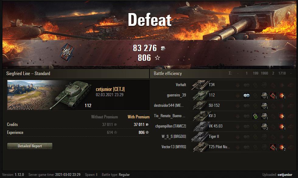 Replay – 112, Linha Siegfried, Batalha padrão