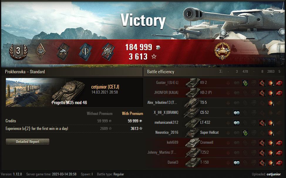 Replay – Progetto M35 mod 46, Prokhorovka, Batalha padrão