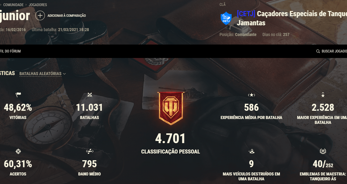 Meu perfil no World of Tanks (NA)