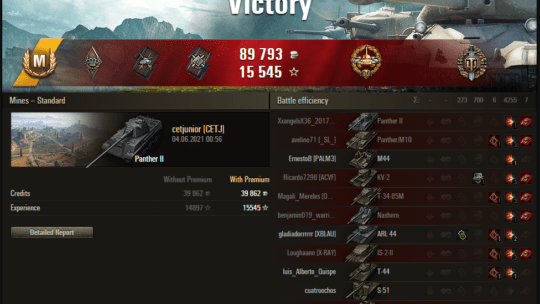 Replay – Panther II, Minas, Batalha padrão