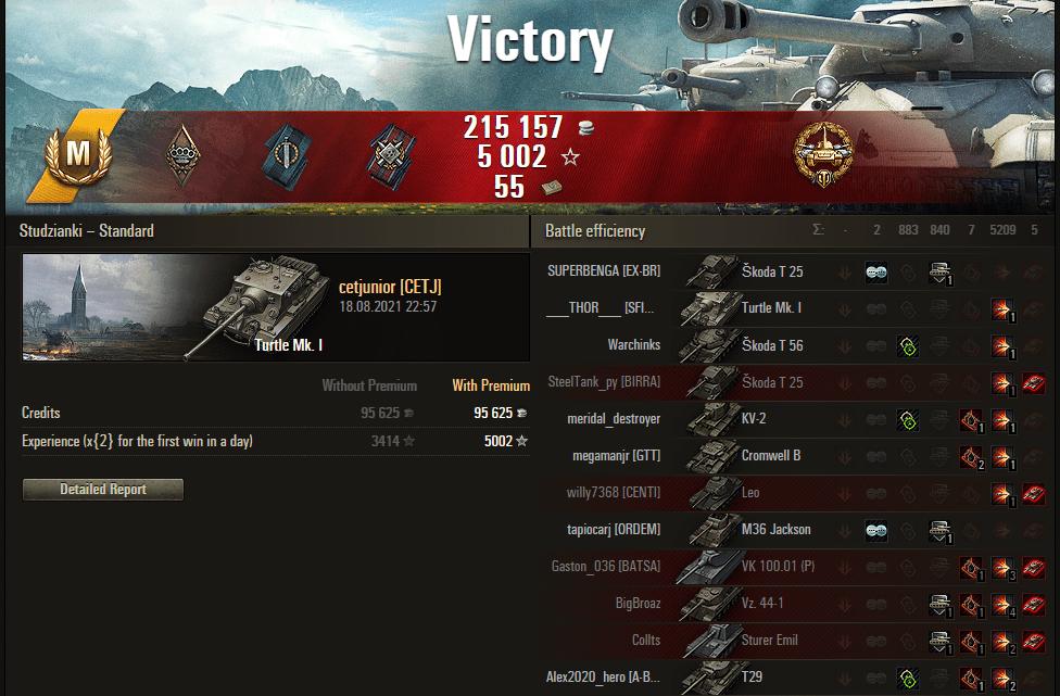 Replay – Turtle Mk. I, Studzianki, Batalha padrão