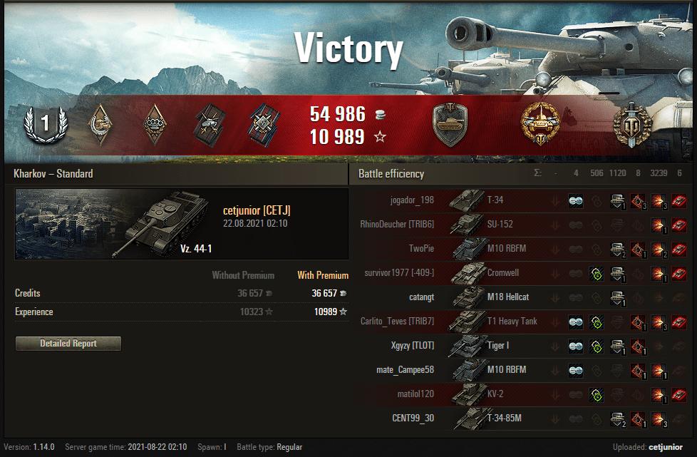 Replay – Vz. 44-1, Kharkov, Batalha padrão
